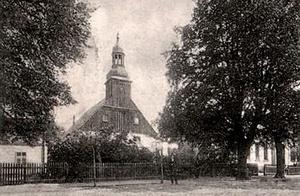 Kościół w Krośnie – fotografia z ok. 1902 r.